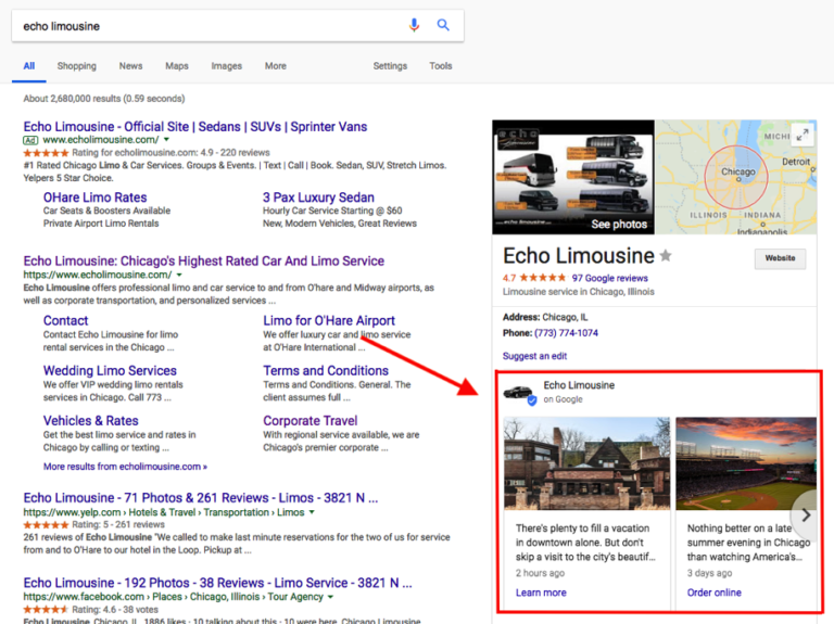 Example of a Google Post